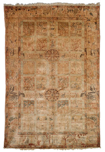 Turkish Anatolian silk carpet, ca. 1880, the ivory