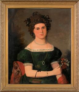 American oil on canvas portrait, ca. 1830, of a yo