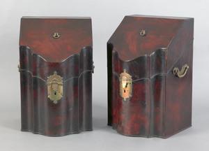 Pair of George III mahogany knife boxes, ca. 1760,