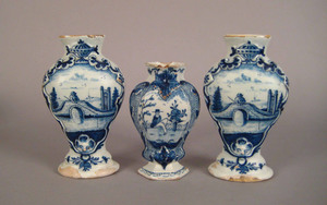 Pair of Delft blue and white garnitures, ca. 1800,