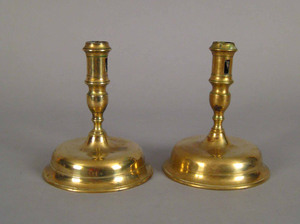 Pair of Spanish bell base candlesticks, late 17th.