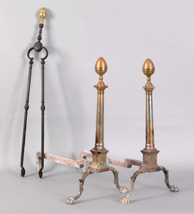 Pair of Chippendale brass lemon top andirons, late