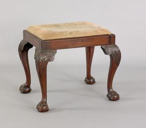 George III style mahogany footstool with slip seat