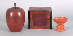 English mahogany apple form tea caddy, 19th c., to