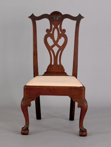 Pennsylvania Chippendale walnut dining chair, ca 1