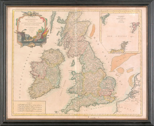 Engraved map of Britain, published 1754, by Sir Ro