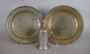 Two English pewter chargers, 18th/19th c., one mar
