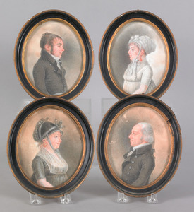 Set of four oval watercolor and gouache family por