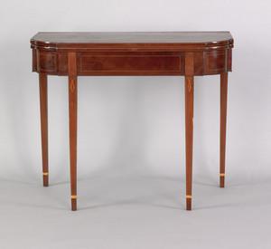 Federal mahogany card table, ca. 1800, the rectang