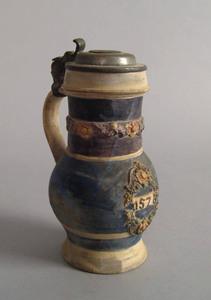 German stoneware tankard, with pewter lid, florala