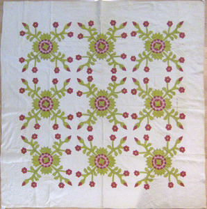 Appliqué whig rose quilt dated 1859, and signed Ma
