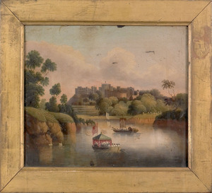 English, early 19th c., oil on canvas landscape wi