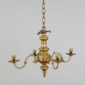 Flemish brass four arm chandelier, ca. 1800, with