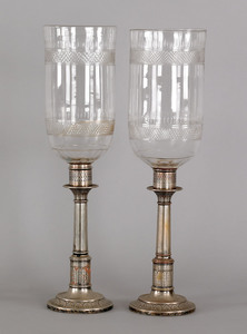 Pair of Sheffield plate hurricane lamps, late 19th