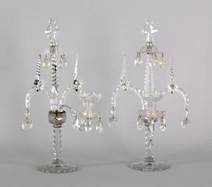 Pair of Anglo-Irish cut glass candelabra, 19th c.,