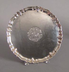 Georgian silver salver, 1736-1737, bearing the tou