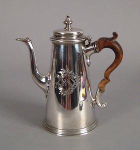Georgian silver lighthouse coffeepot, 1736-1737, b