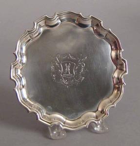 Georgian silver waiter, 1735-1736, bearing the tou