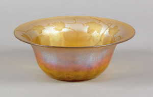 Tiffany favrile glass bowl, the interior decorated