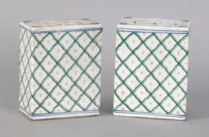 Pair of export porcelain incense burners, 19th c.,