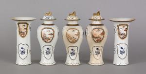 Chinese export porcelain five piece garniture set,