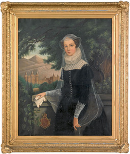English, 19th c., oil on canvas portrait of Mary Q