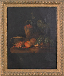 Pair of Continental oil on canvas still lifes, lat
