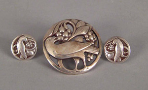 Georg Jensen sterling silver brooch and matching e