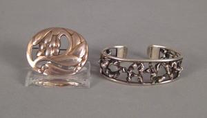 Georg Jensen sterling silver brooch, 1 1/2