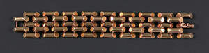 14K yellow gold bracelet constructed of large tubu