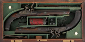 Pair of English flintlock dueling pistols, 18th c.
