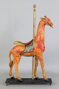 Excellent carved and painted carousel giraffe, lat