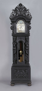 Monumental Victorian carved oak tall case clock, a
