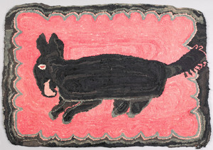 Hooked rug of an armadillo, early 20th c., on a pi