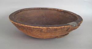 Massive New England turned pine bowl, 19th c., 7 1