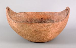 American Indian burl bowl, 19th c., of deep ovoido