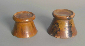 Two redware stands, 19th c., 2 3/4