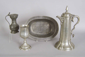 James Dixon & Sons pewter flagon and chalice, 15 1