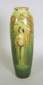 Austrian art pottery vase, 15 1/4