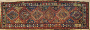 Caucasian long rug, ca. 1900 with repeating medall