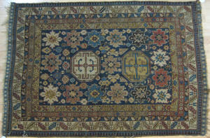 Shirvan carpet, ca. 1890, with two medallions on a