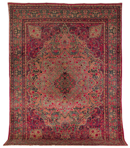 Kirman carpet, ca. 1920, with a floral decorated m