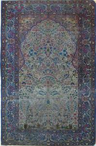 Kirman tree of life rug, ca. 1910, 8' x 5'.