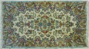 Kirman throw rug, 7' x 4'.