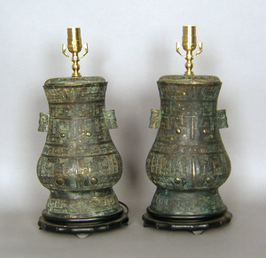 Pair contemporary bronze table lamps.