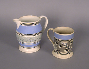 Mocha, 19th c., to include a pitcher, 8