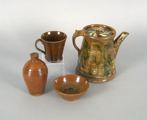 Redware coffee pot, together with bowl, jug and mu