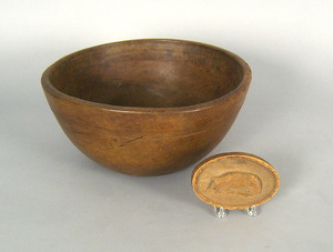 Turned butter bowl, 19th c., 6 1/4
