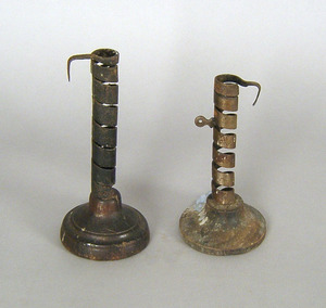 Two French twist ejection candlesticks, 18th/19th.
