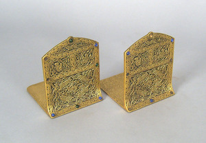 Pair Tiffany Studios brass bookends, 6